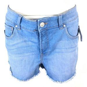 Bootlegger denim frayed shorts
